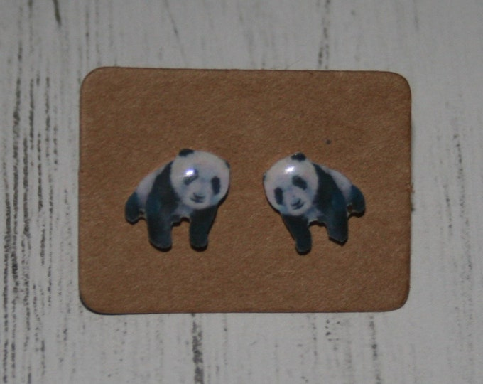 Panda Bear Earrings, Teeny Tiny Earrings, Bear Face Jewelry, Cute Earrings
