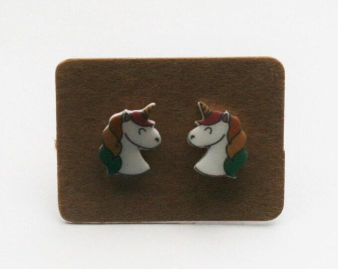 Rainbow Unicorn Earrings, Teeny Tiny Earrings, Horse Jewelry, Cute Earrings