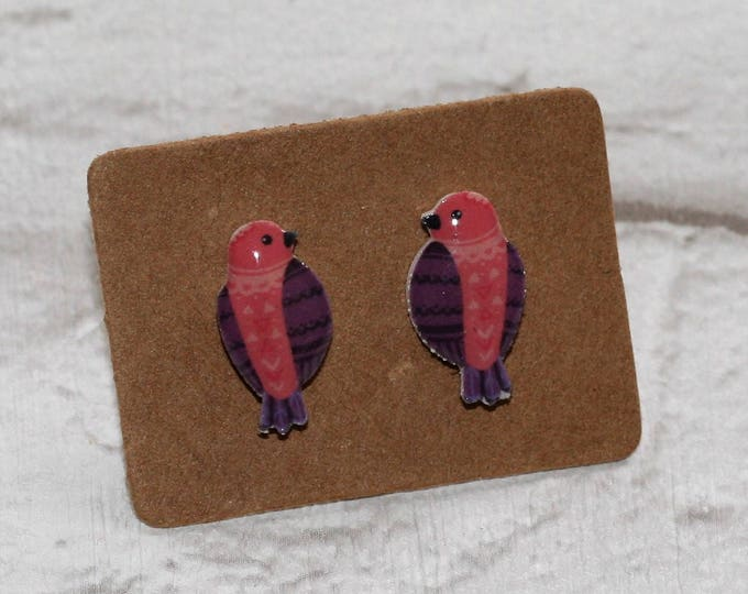 Pink Bird Earrings, Teeny Tiny Earrings, Parrot Jewelry, Cute Earrings