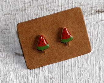 Watermelon Popsicle Earrings, Teeny Tiny Earrings, Fruit Jewelry, Cute Earrings