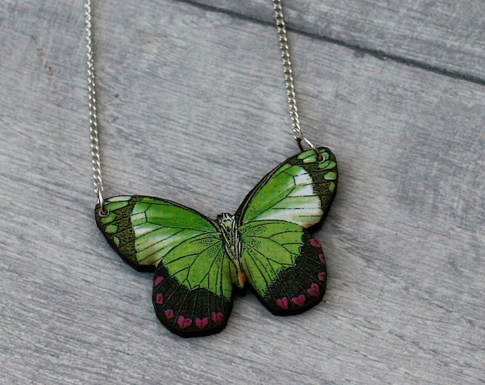 Green Butterfly Necklace, Wooden Butterfly, Illustration Pendant, Animal Necklace, Wood Jewelry