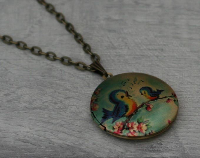 Bird Locket Necklace, Bird Necklace, Bird Pendant, Pink Blossom Necklace