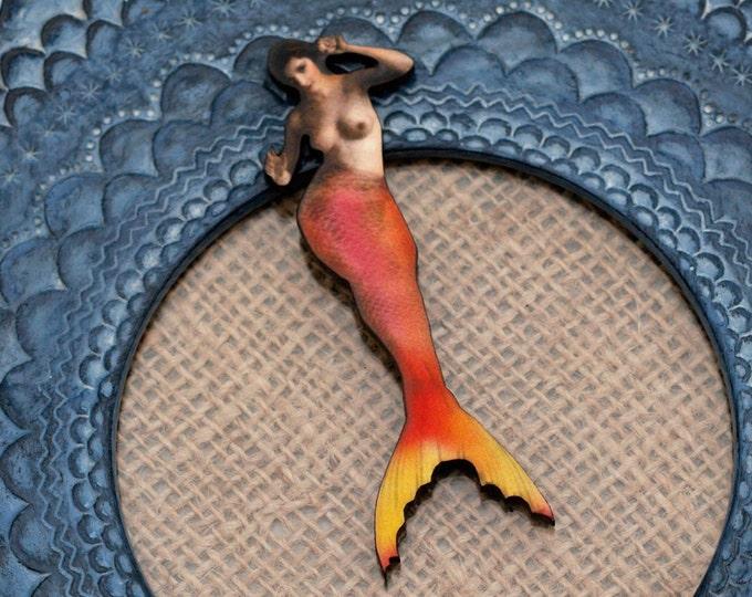 Orange Mermaid Brooch, Wood Accessory, Mermaid Illustration, Wood Jewelry