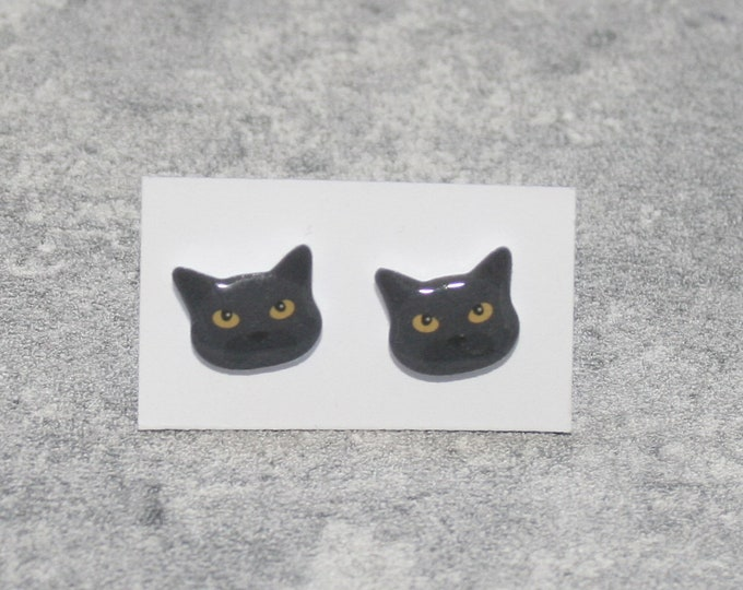 Black Cat Earrings, Teeny Tiny Earrings, Cat Jewelry, Cute Earrings