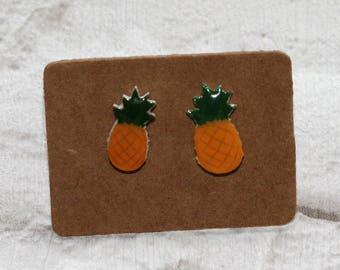 Pineapple Earrings, Teeny Tiny Earrings, Fruit Jewelry, Cute Earrings