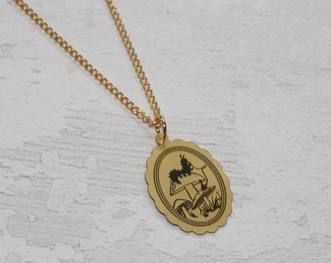 Golden Caterpillar Alice in Wonderland Necklace