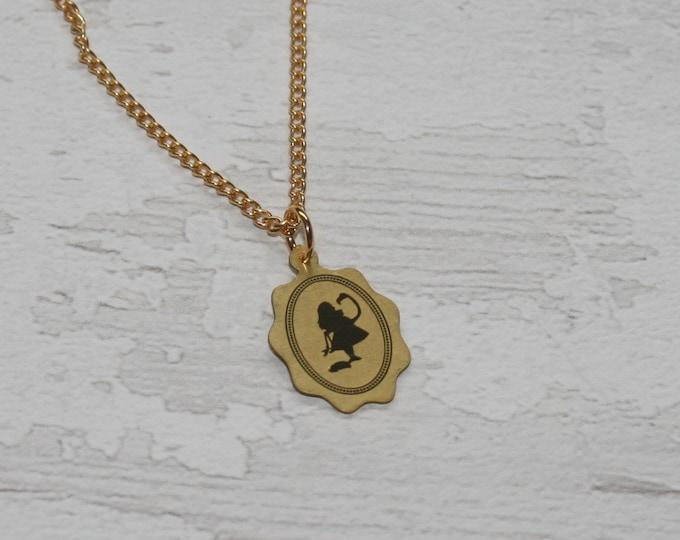Golden Flamingo Alice in Wonderland Necklace