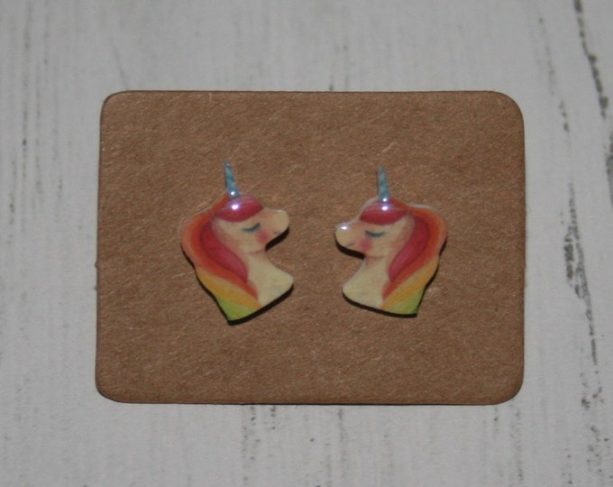 Rainbow Unicorn Earrings, Teeny Tiny Earrings, Horse Jewelry, Cute Earrings