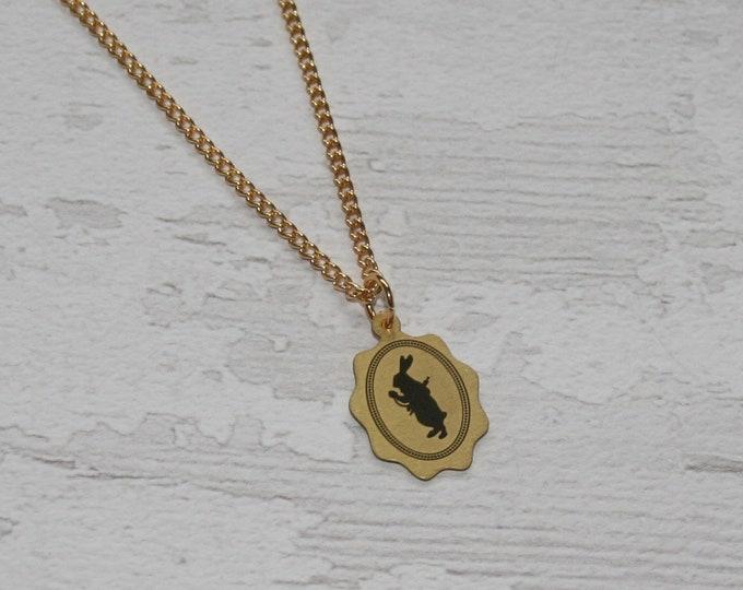 Golden White Rabbit Alice in Wonderland Necklace
