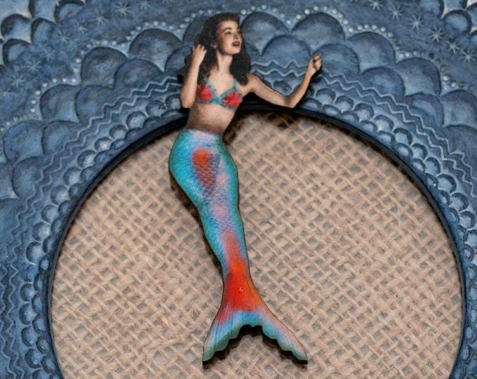 Blue Mermaid Brooch, Wood Accessory, Mermaid Illustration, Wood Jewelry