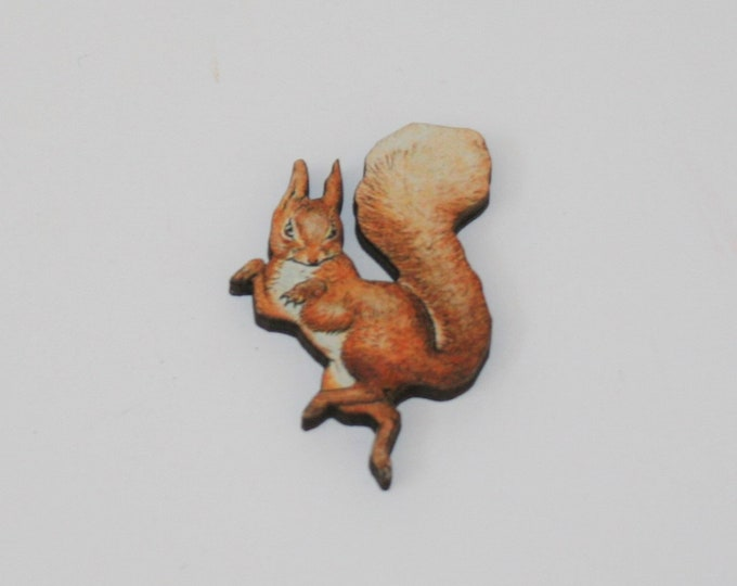 Squirrel Nutkin Brooch, Beatrix Potter Illustration, Wood Jewelry, Animal Brooch, Woodland