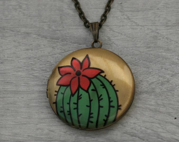 Cactus Locket Necklace, Cacti Necklace, Desert Jewelry