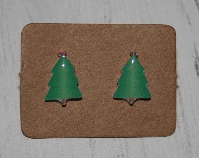 Christmas Tree Earrings, Teeny Tiny Earrings, Tree Jewelry, Cute Earrings