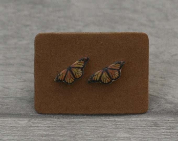 Butterfly Earrings, Teeny Tiny Earrings, Orange Butterfly Jewelry, Cute Earrings
