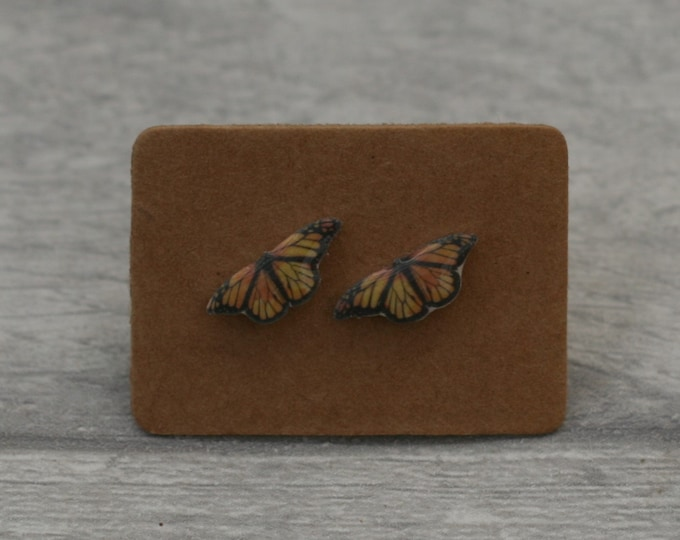 Butterfly Earrings, Teeny Tiny Earrings, Orange Butterfly Jewelry, Cute Earrings