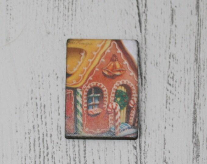 Gingerbread Christmas Brooch, House Illustration, Wood Jewelry, Christmas Brooch, Wood Jewelry