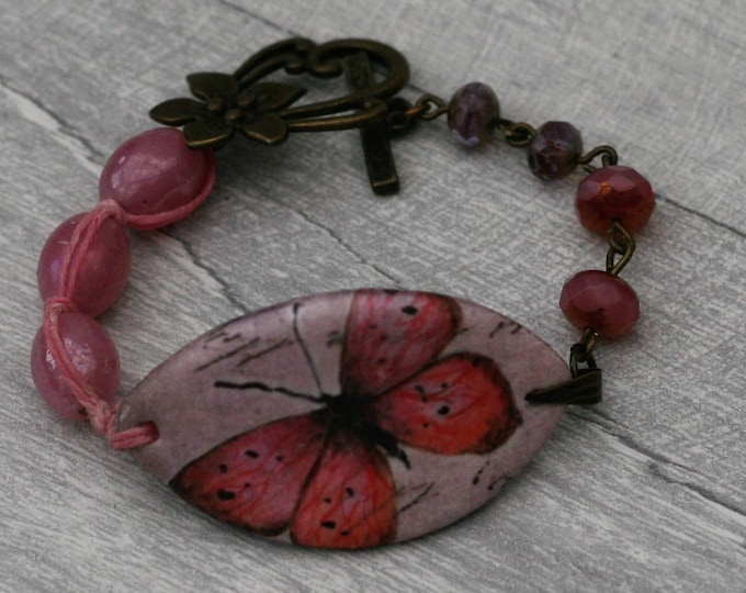 Pink Butterfly Bracelet, Butterfly Bracelet, Butterfly Bar Bracelet