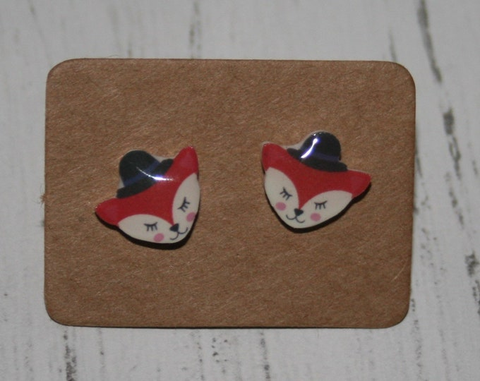 Fox Earrings, Teeny Tiny Earrings, Fox Face Jewelry, Cute Earrings