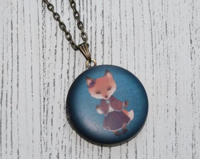 Fox Locket Necklace, Vixen Necklace, Woodland Jewelry