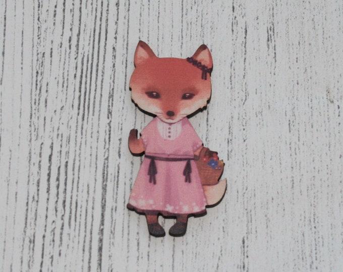Cute Fox Brooch, Fox Illustration, Wood Jewelry, Animal Pin Badge
