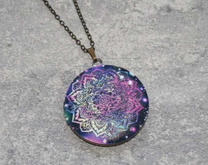 Mandala Locket Necklace, Geometric Necklace, Geometric Jewelry