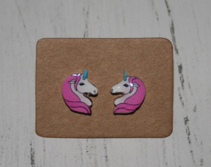 Pink Unicorn Earrings, Teeny Tiny Earrings, Horse Jewelry, Cute Earrings