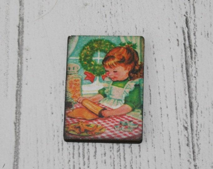 Gingerbread Christmas Brooch, Little Girl Illustration, Wood Jewelry, Christmas Brooch, Wood Jewelry