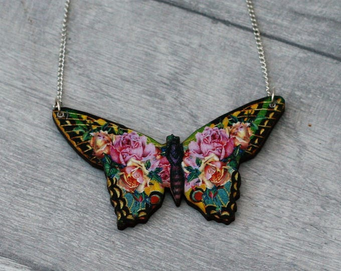 Pink Floral Butterfly Necklace, Flower Butterfly, Wooden Butterfly, Illustration Pendant, Animal Necklace, Wood Jewelry
