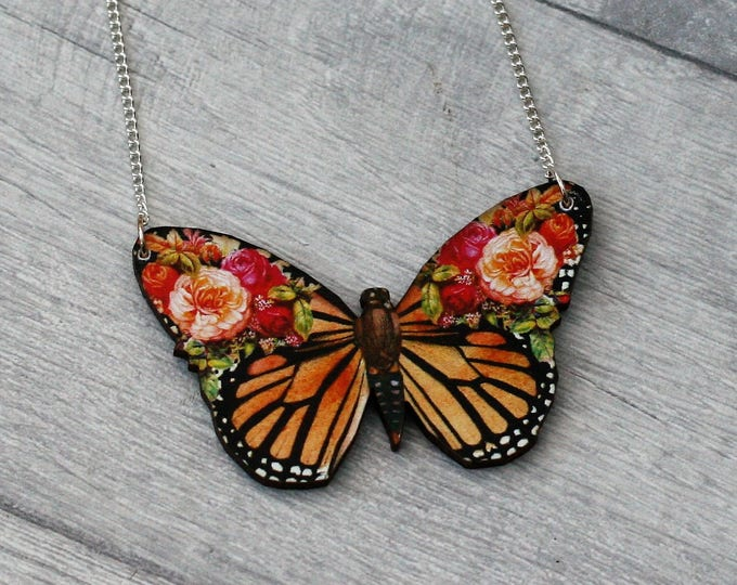 Orange Floral Butterfly Necklace, Flower Butterfly, Wooden Butterfly, Illustration Pendant, Animal Necklace, Wood Jewelry