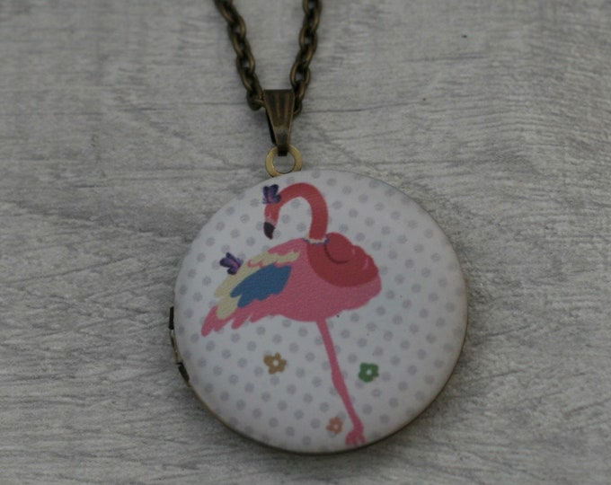 Flamingo Locket Necklace