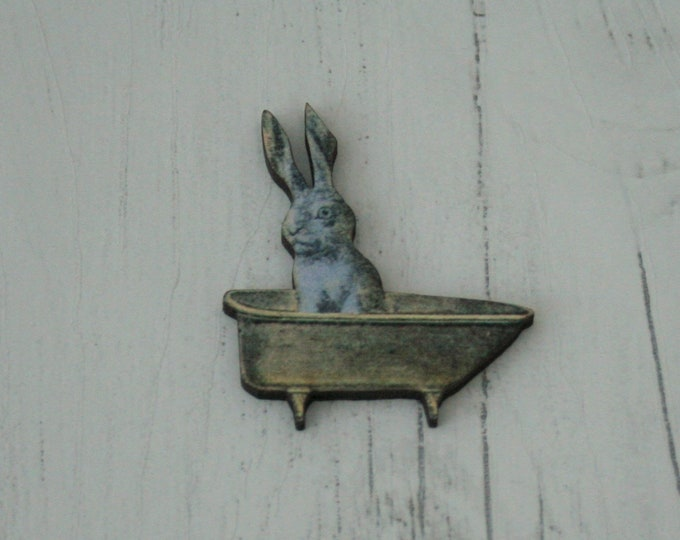 Bunny in a Bath Brooch, Rabbit Pin Badge, Wood Jewelry, Animal Brooch