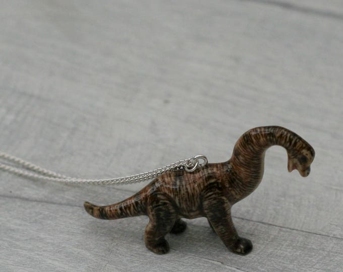 Porcelain Dinosaur Necklace, Animal Necklace, Brachiosaurus Necklace