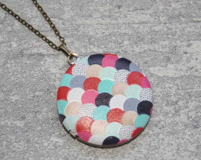 Geometric Locket Necklace, Scales Necklace, Geometry Jewelry