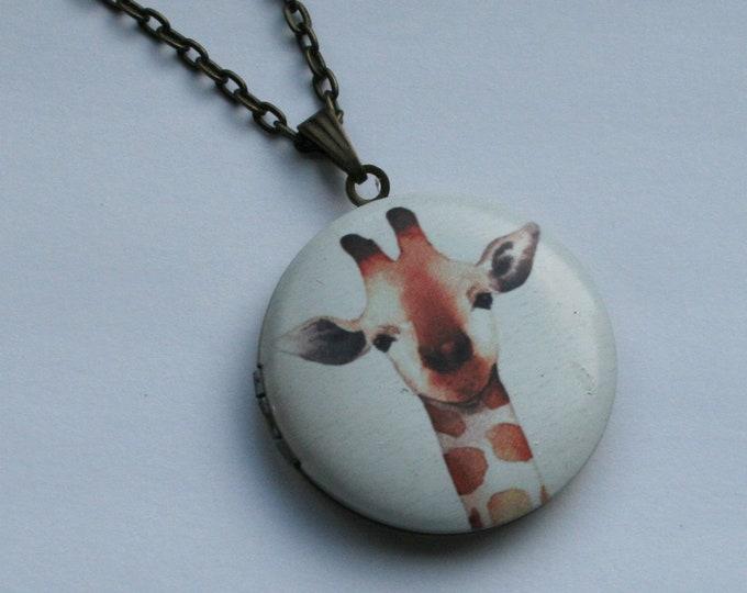 Giraffe Locket Necklace, Animal Jewelry
