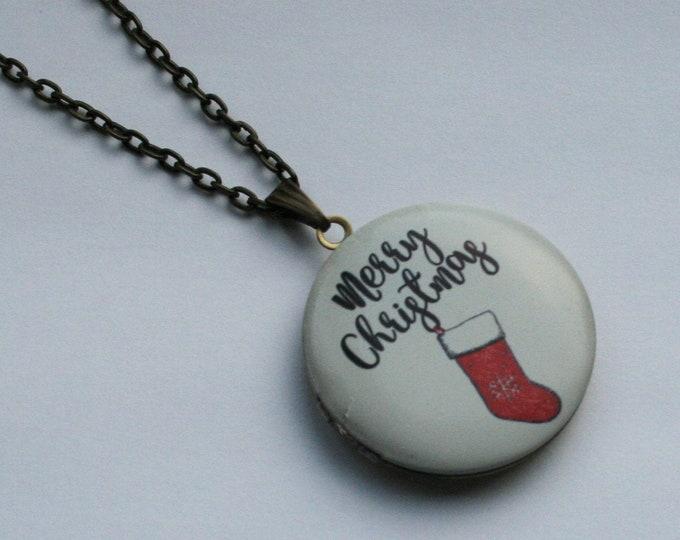 Stocking Locket Necklace, Merry Christmas Necklace, Woodland Jewelry, Christmas Locket