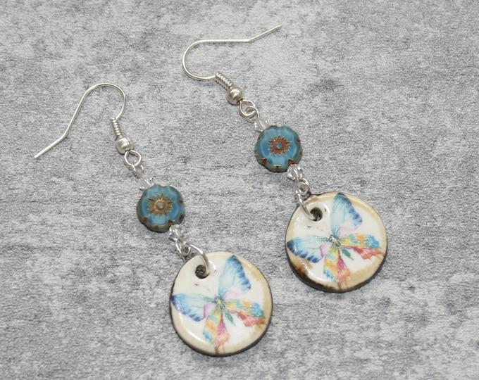Blue Butterfly Statement Earrings, Animal Jewelry