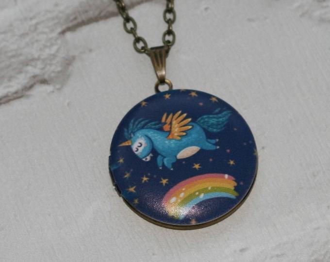 Unicorn Locket Necklace, Horse Necklace, Mythical Jewelry