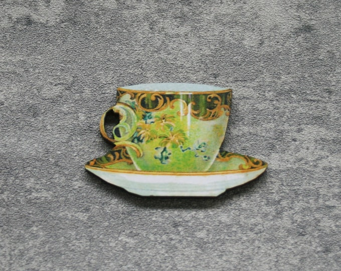 Green Teacup Brooch, Wooden Afternoon Tea Brooch, Teacup Badge, Wood Jewelry