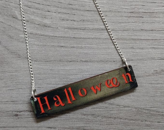 Halloween Necklace, Wood Jewelry