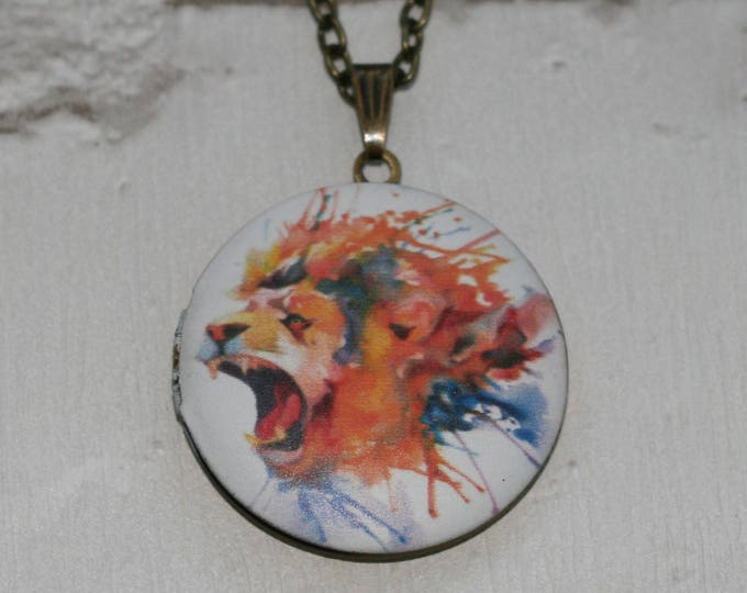 Lion Locket Necklace, Lioness Necklace, Valentine's Gift