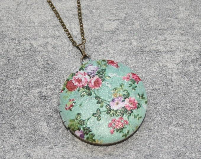 Pink Flower Locket Necklace, Floral Necklace, Flower Locket Necklace