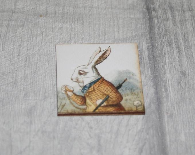 White Rabbit Brooch, Alice Rabbit Pin, Alice in Wonderland Brooch, Tenniel Illustration