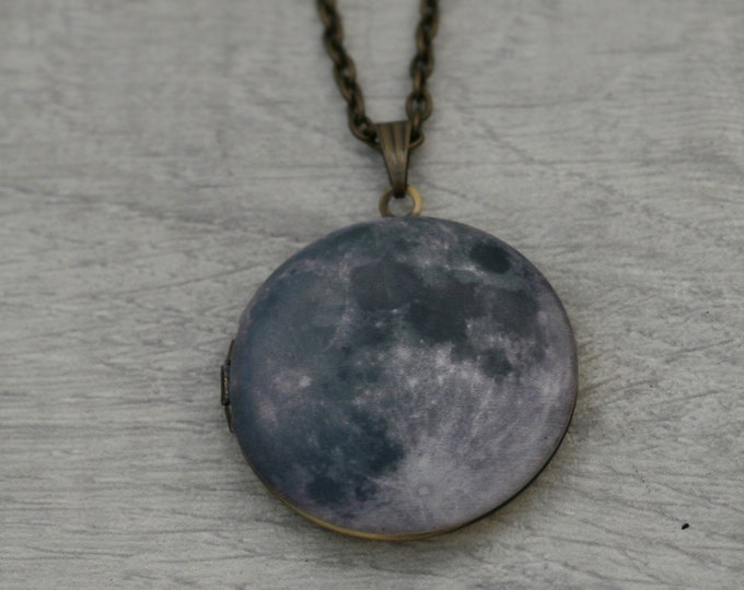 Full Moon Locket Necklace