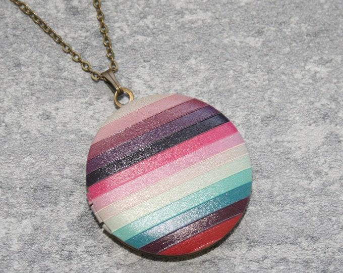 Geometric Locket Necklace, Striped Locket Necklace, Statement Jewelry