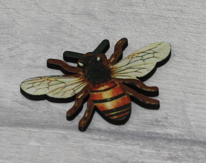 Bee Brooch, Wooden Brooch, Bee Illustration, Wood Jewelry