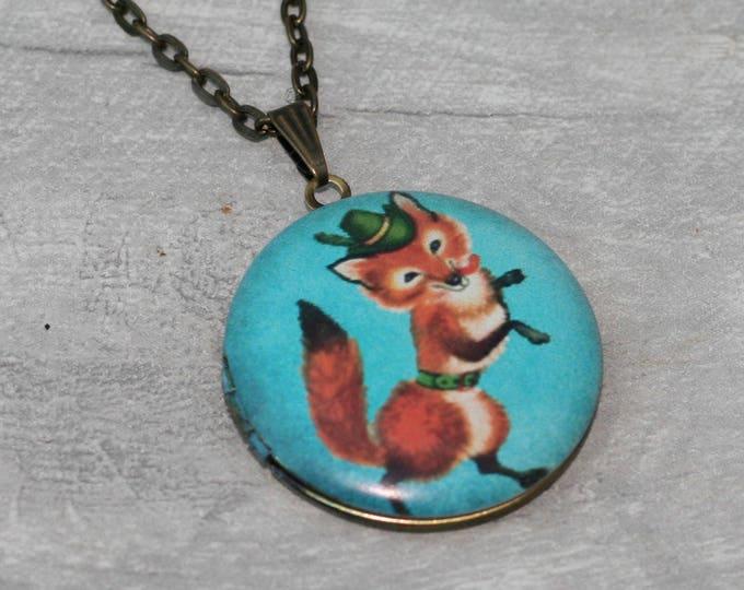 Fox Locket Necklace, Vixen Necklace, Woodland Jewelry, Valentine's Gift