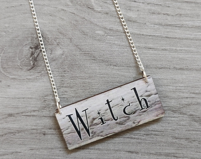 Halloween Witch Necklace, Wood Jewelry