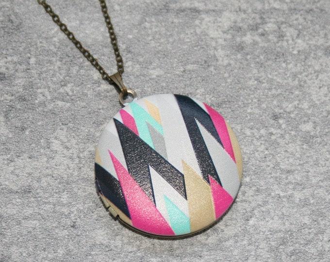 Geometric Locket Necklace, Chevron Necklace, Mint Green Arrows, Geometric Jewelry