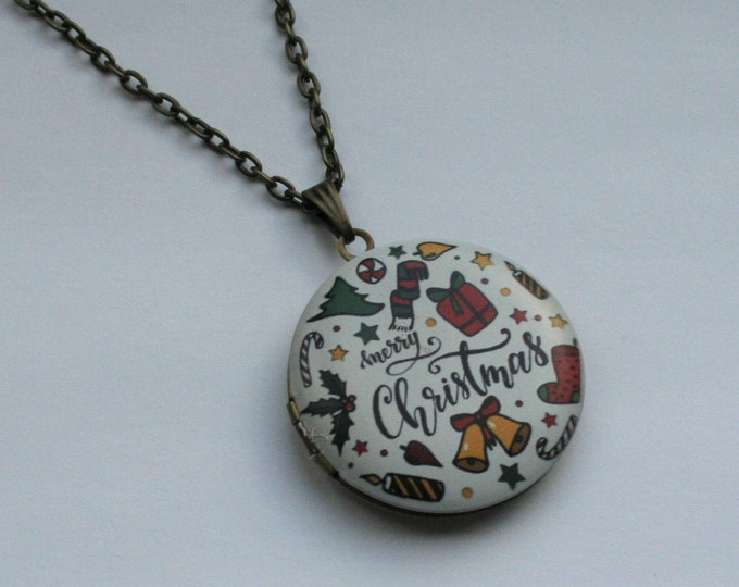 Merry Christmas Locket Necklace, Christmas Necklace, Xmas Jewelry, Christmas Locket