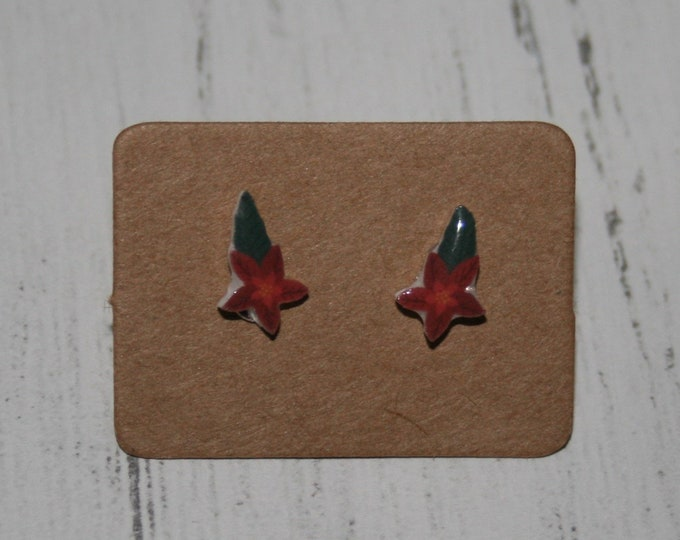 Poinsettia Earrings, Teeny Tiny Earrings, Christmas Jewelry, Cute Earrings